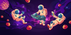 Astronaut dj with turntable in open space. Vector cartoon illustration with spaceman mixing techno music, showing thumb up and with drink on cosmos background. Galaxy design for poster or flyer