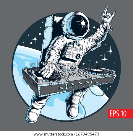 Astronaut dj with turntable in the space. Universe disco party comic style vector illustration. Foto stock ©