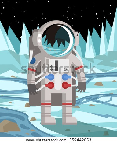 astronaut exploring a cold ice