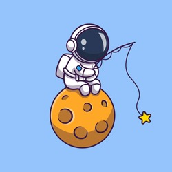 Astronaut Fishing On Moon Vector Icon Illustration. Spaceman Mascot Cartoon Character. Science Icon Concept Isolated. Flat Cartoon Style Suitable for Web Landing Page, Banner, Flyer, Sticker, Card
