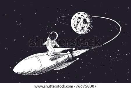 astronaut flies from the moon