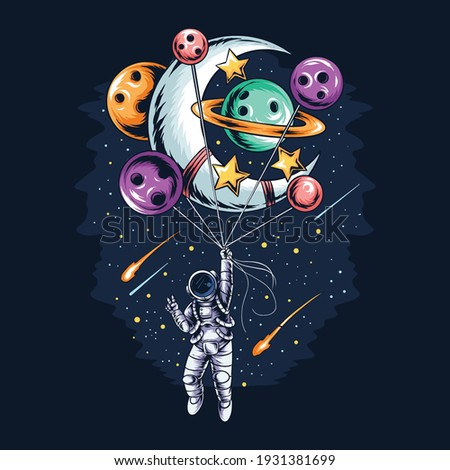 astronaut flies in space with balloon planets and moons vector artwork