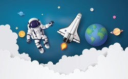 Astronaut floating in the stratosphere . Paper art and craft style.
