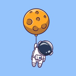 Astronaut Floating With Moon Vector Icon Illustration. Spaceman Mascot Cartoon Character. Science Icon Concept Isolated. Flat Cartoon Style Suitable for Web Landing Page, Banner, Flyer, Sticker, Card