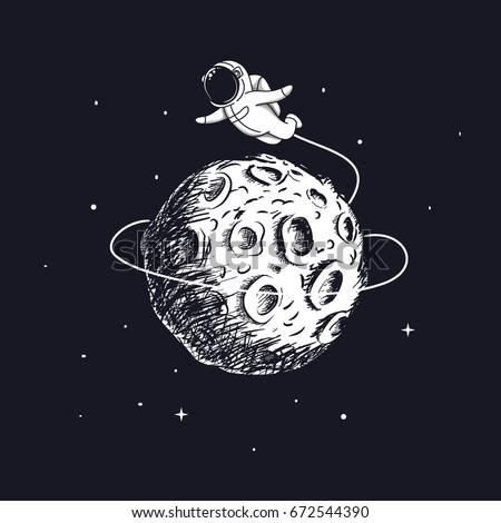 astronaut flying around the