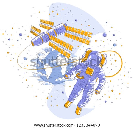 Astronaut flying in open space connected to space station and earth planet in background, spaceman in spacesuit floating in weightlessness and iss spacecraft. Vector isolated.