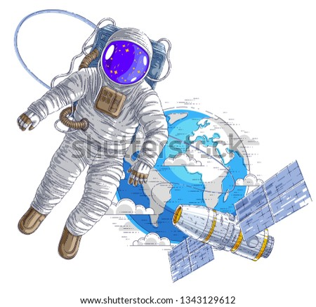Astronaut flying in open space connected to space station and earth planet in background, spaceman in spacesuit floating in weightlessness and iss spacecraft with solar panels behind him. Vector.