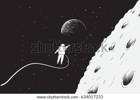 astronaut flying very close