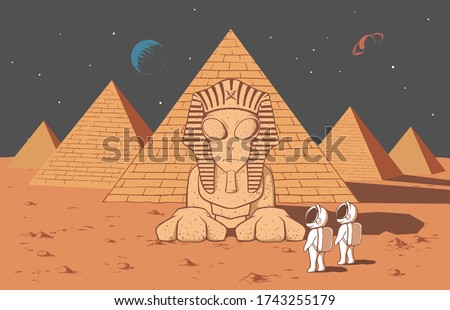 Astronaut found another alien civilization on mysterious planet .He saw there an alien sphinx and many pyramids.Color version.Vector illustration
