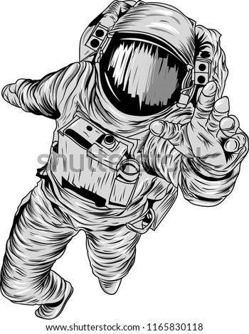 astronaut grayscale vector