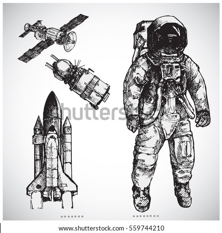 astronaut hand drawn vector