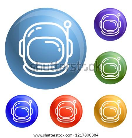 astronaut helmet icons set
