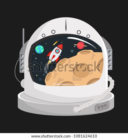 Astronaut helmet  in a space