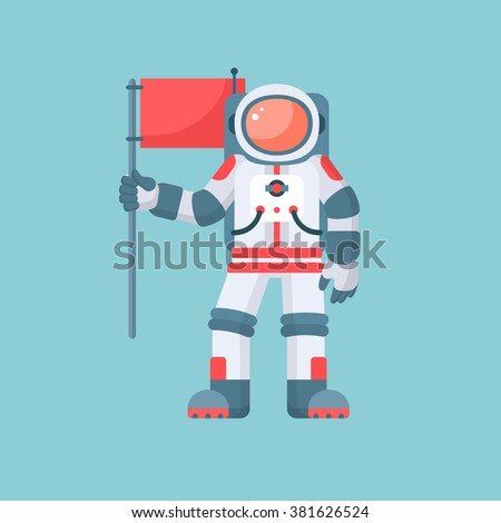 astronaut holding red flag