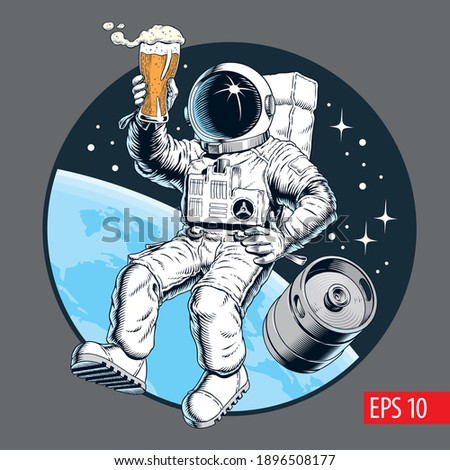 Astronaut holds a beer pint and beer keg in outer space. Vector illustration. Zdjęcia stock ©
