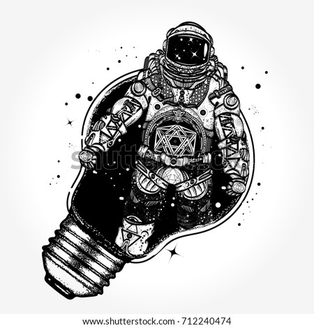 Astronaut in a light bulb tattoo art. Astronaut surreal graphics t-shirt design. Symbol of creative thinking, new ideas