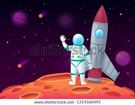 Astronaut in lunar surface. Rocket spaceship, space planet and outerspace travel spacecraft. Cosmos galaxy scientific astronomy character walking, spaceman with shuttle vector cartoon illustration