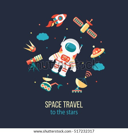 Astronaut in outer space. Cosmos discovery and exploration poster. Flat style, vector illustration.