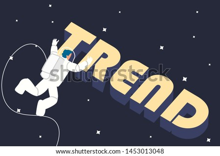 Astronaut in space finding trends. Chasing trends concept vector illustration. Searching trends like space man in universe.