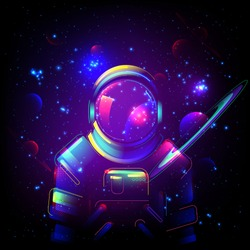 Astronaut in space. Galaxy neon  background. Spaceman in helmet. Futuristic space concept in purple violet retro wave style. Starry sky universe banner template. Fantasy vector illustration.