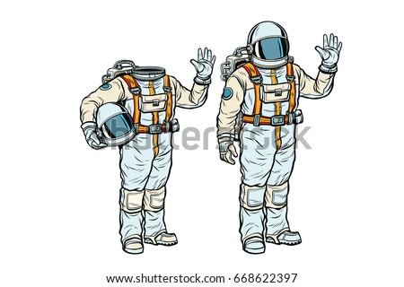 Astronaut in spacesuit and mockup without a head. Pop art retro comic book vector illustration