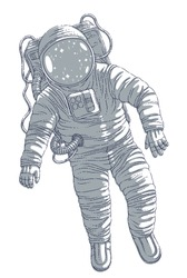 Astronaut in spacesuit floating in weightlessness, spaceman in open space realistic vector illustration isolated over white background.