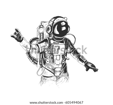astronaut in spacesuit raises