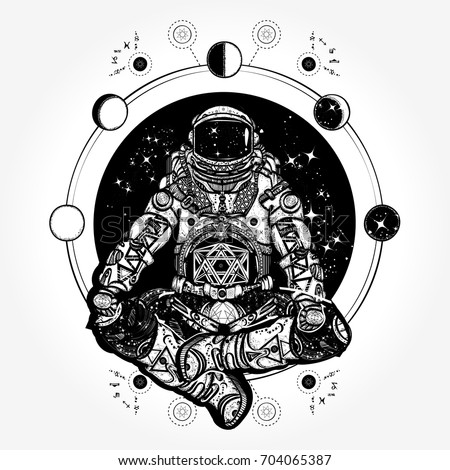 astronaut in the lotus position