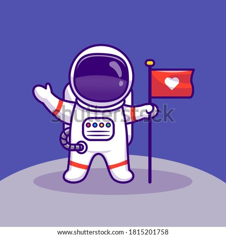 Astronaut Landing On Moon Holding Flag Cartoon Vector Icon Illustration. Space Technology Icon Concept Isolated Premium Vector. Flat Cartoon Style