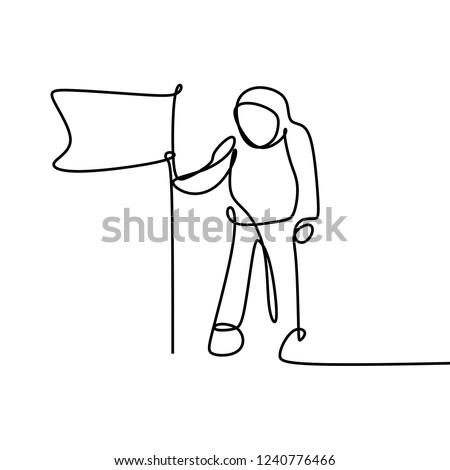 Astronaut landing on the moon with flag illustration. A human spaceflight program minimalist design one line drawing vector isolated on white background