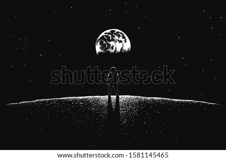 Astronaut looks to Earth from Moon stock photo