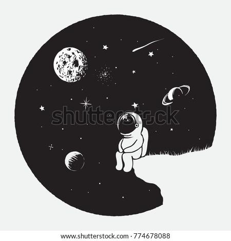 astronaut looks to universe