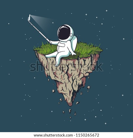 Stock Photo Astronaut make selfie on flying island from Earth in outer space