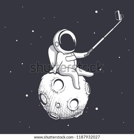 Stock Photo astronaut make selfie on Moon.Spaceman photographs himself.Vector illustration.Prints design