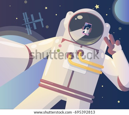 Stock Photo Astronaut making a selfie in the space. Vector illustration