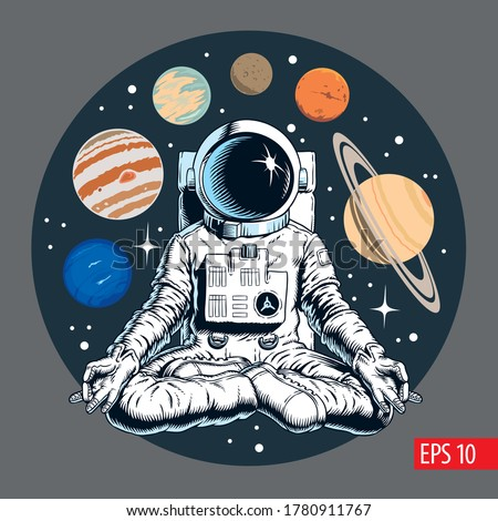 Astronaut meditating in the lotus pose. Solar planets and stars on the background. Space yoga vector illustration.