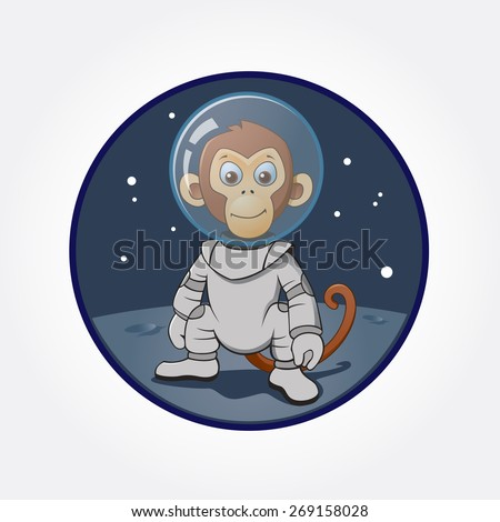 astronaut monkey at the moon