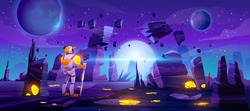 Astronaut on alien planet in far galaxy. Cosmonaut in suit and helmet explore outer space. Vector cartoon illustration of spaceman, cosmos and planet surface with rocks, cracks and glowing spots