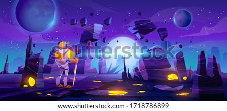 astronaut on alien planet in