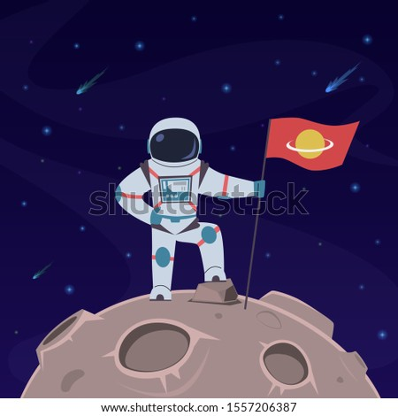 Astronaut on moon. Spaceman with flag in spacesuit explores moon surface. Futuristic planet in space, cosmos traveler, vector scientific discovery concept