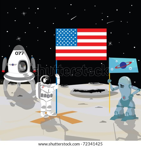 astronaut on the moon holding