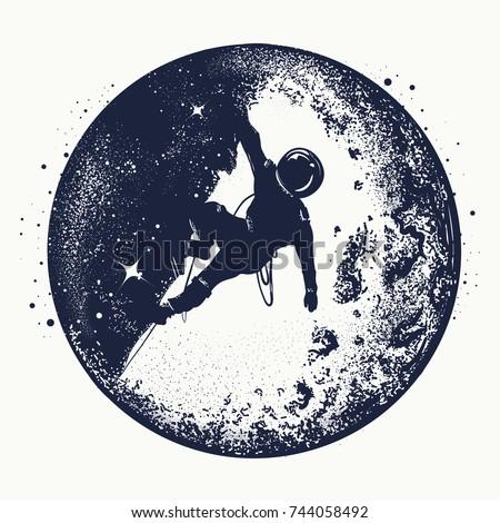 astronaut on the moon tattoo