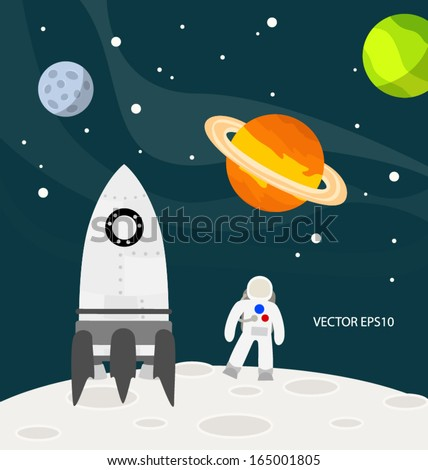 astronaut on the moon vector