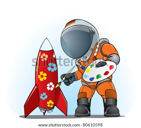 astronaut painting the rocket