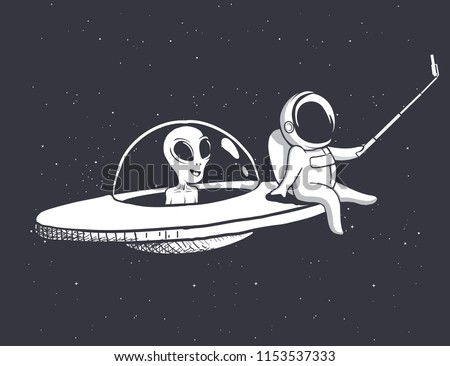 astronaut photographs himself and alien on flying saucer.Vector illustration