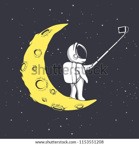 astronaut photographs himself on crescent moon.Vector illustration