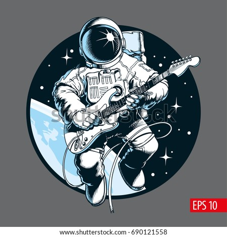 Astronaut playing electric guitar in space. Space tourist. Vector illustration. - Shutterstock ID 690121558