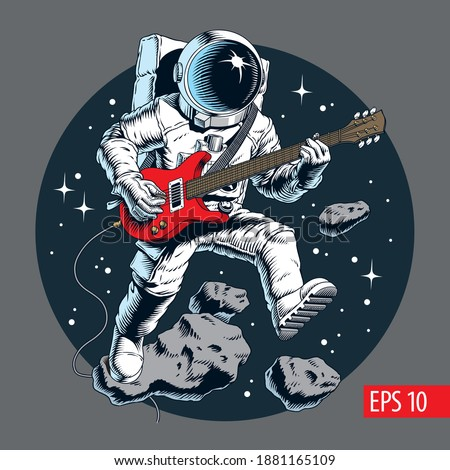 Astronaut playing electric guitar in space. Stars and asteroids on background. Vector illustration.