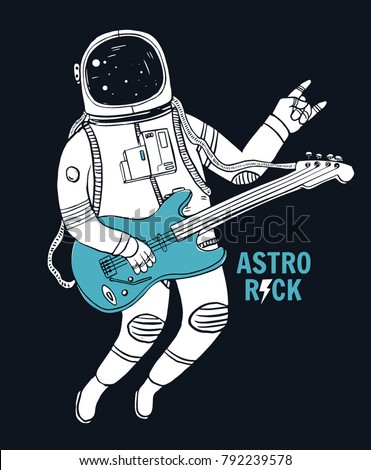 astronaut playing guitar with