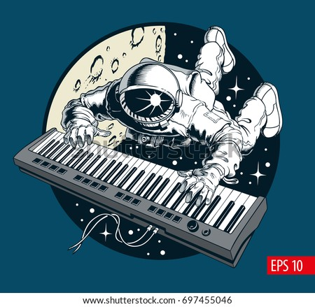 astronaut playing piano